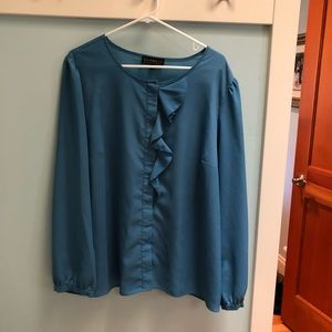 This is a repost!  Eloquii Ruffle Front Blouse
